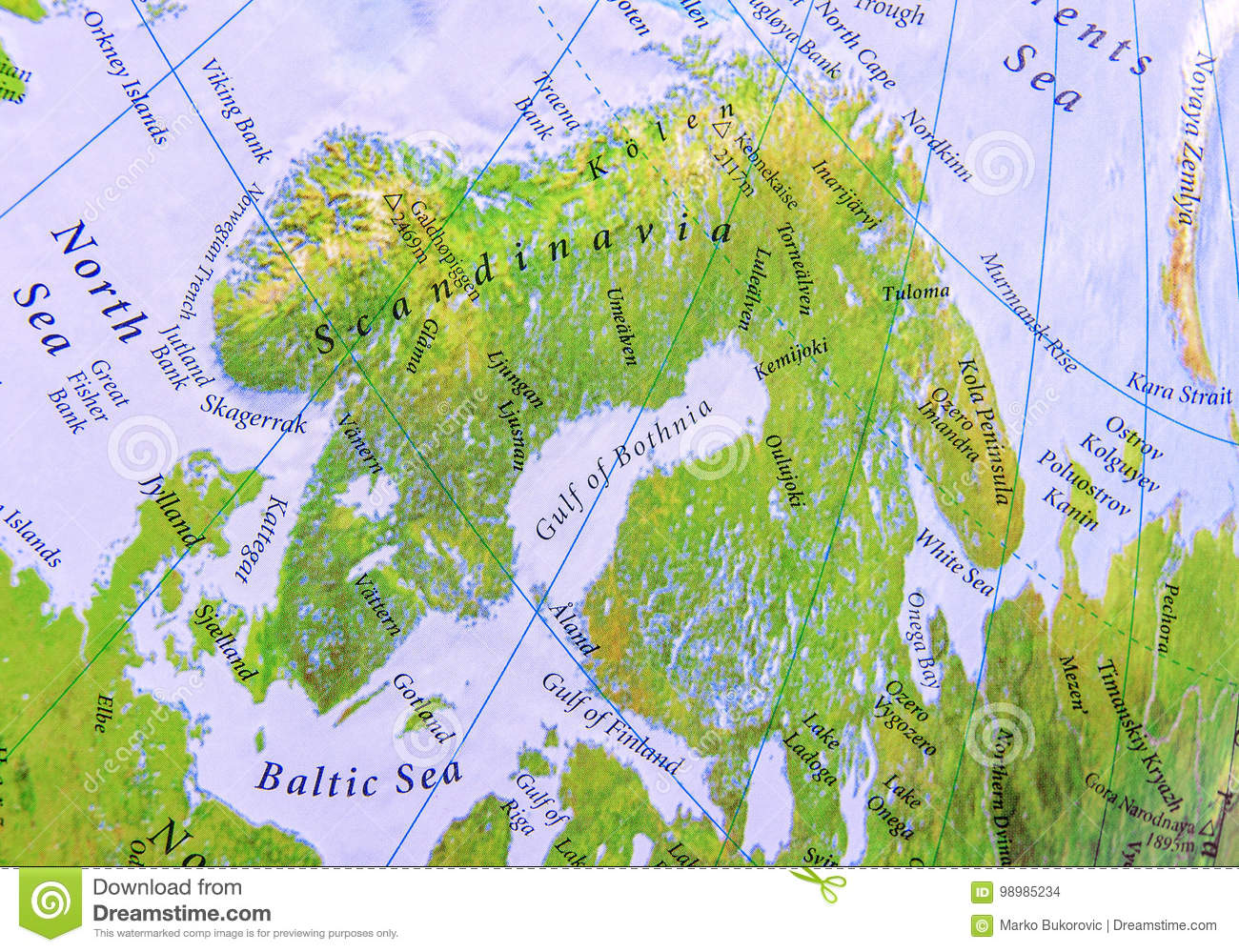 Geographic Map Part Of Europe Of Scandinavia Close Stock Photo ...