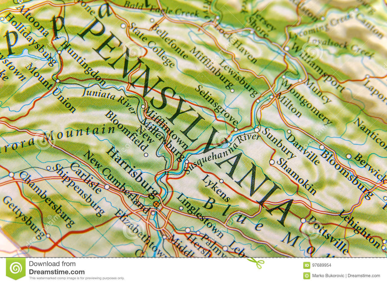Geographic Map Of Pennsylvania Close Stock Photo - Image of ...