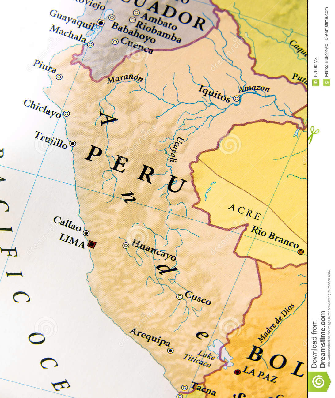 Geographic Map Of Peru With Important Cities Stock Image - Image of ...