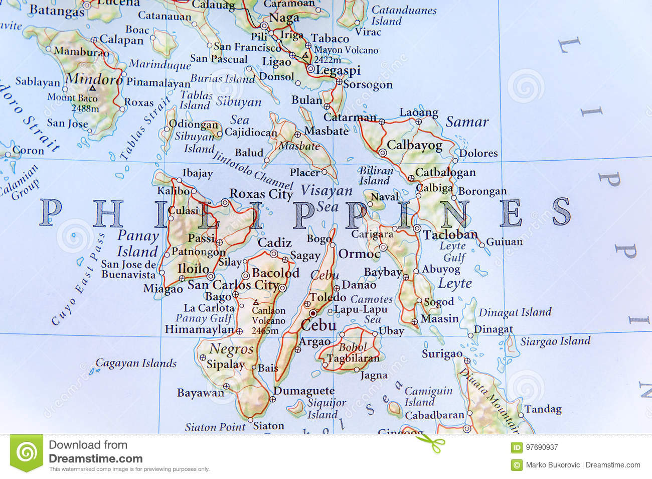 Geographic Map Of Philippines With Important Cities Stock Image ...