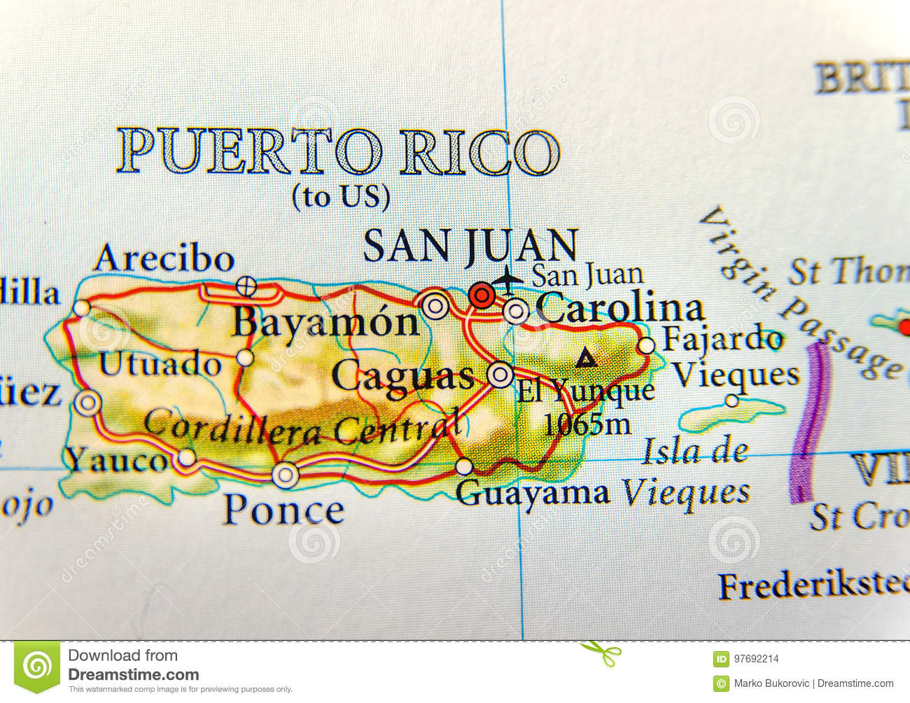 Geographic map of Puerto Rico with capital San Juan