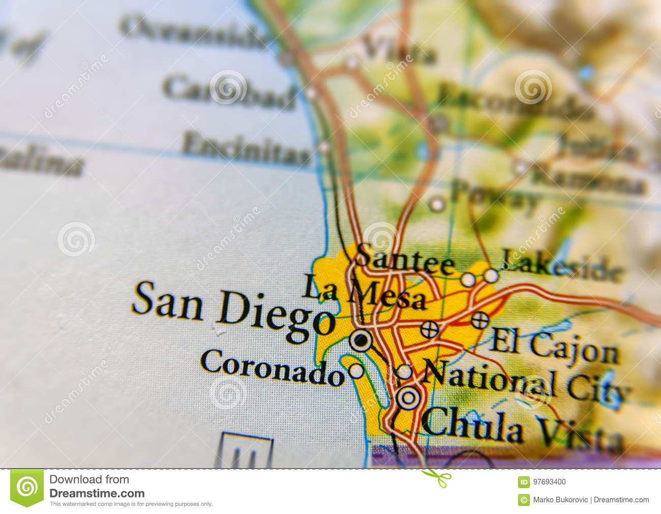 San Diego Map City.Geographic Map Of San Diego City Close Stock Photo Image Of