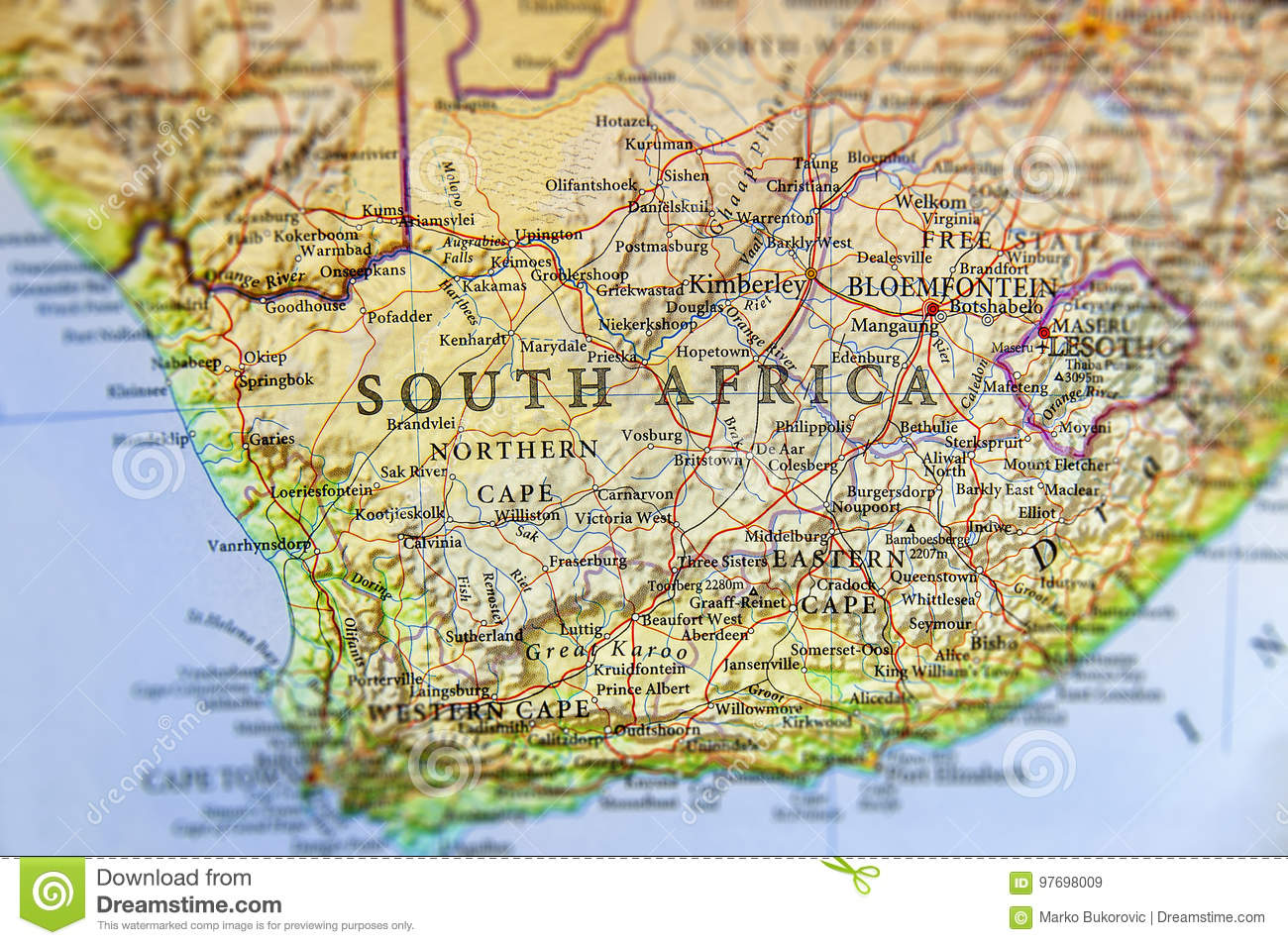 Geographic Map Of South Africa With Important Cities Stock Image