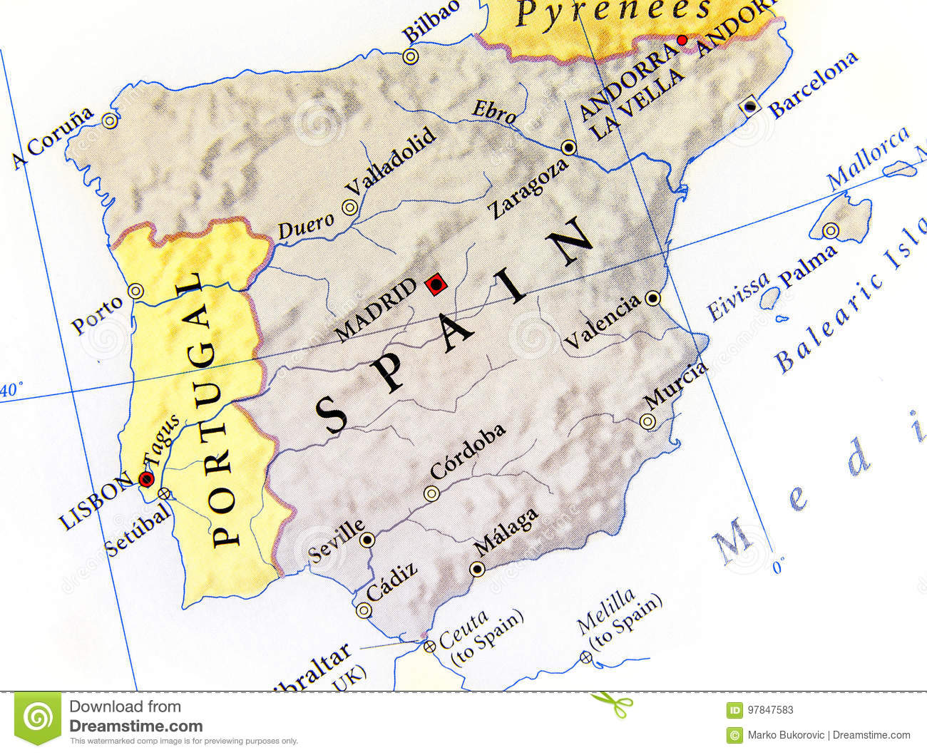 Geographic Map Of Spain With Important Cities Stock Image - Image of ...