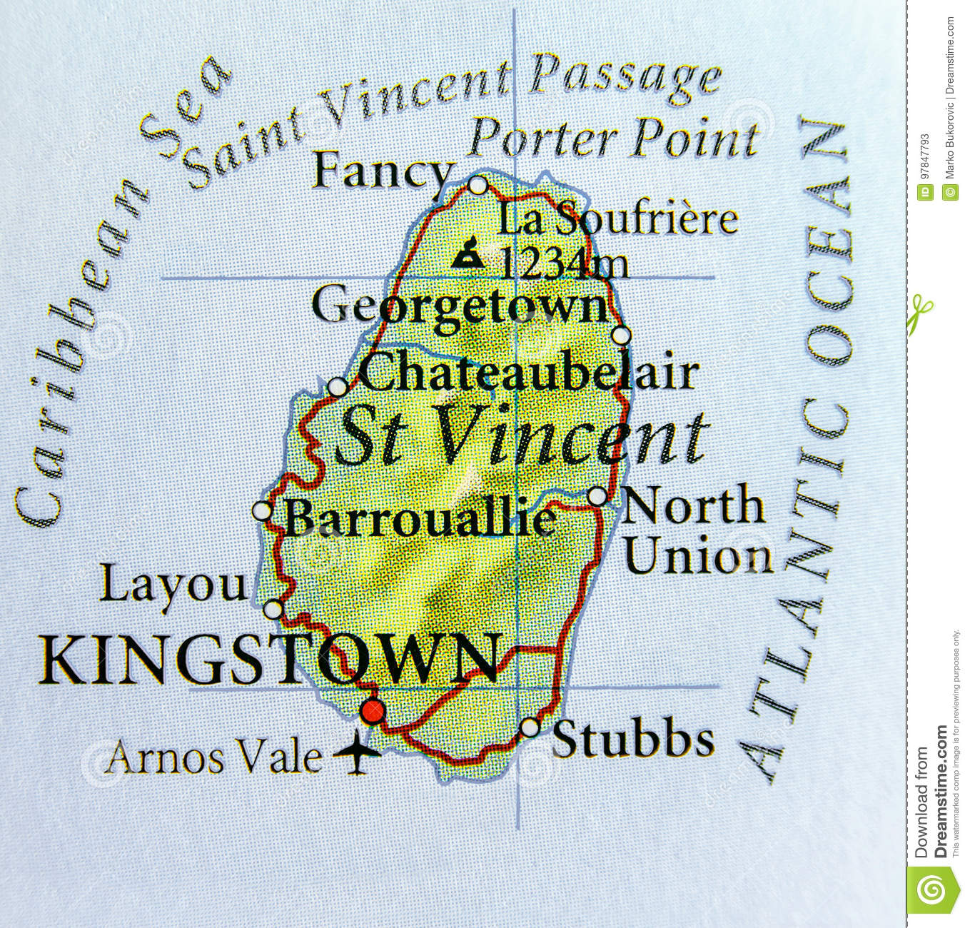 Geographic Map Of St Vincent Country With Important Cities Stock ...