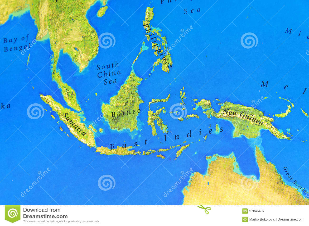 Picture of: Geographic Map Of Sumatra Borneo New Guinea And Philippines Stock Image Image Of Voyage Closeup 97846497