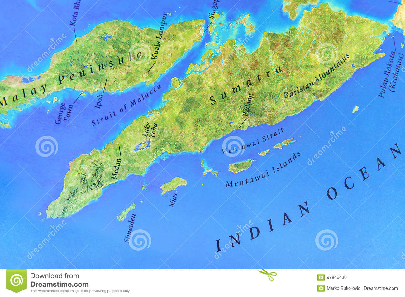 Picture of: Geographic Map Of Sumatra Island With Important Cities Stock Photo Image Of Holiday Asian 97846430
