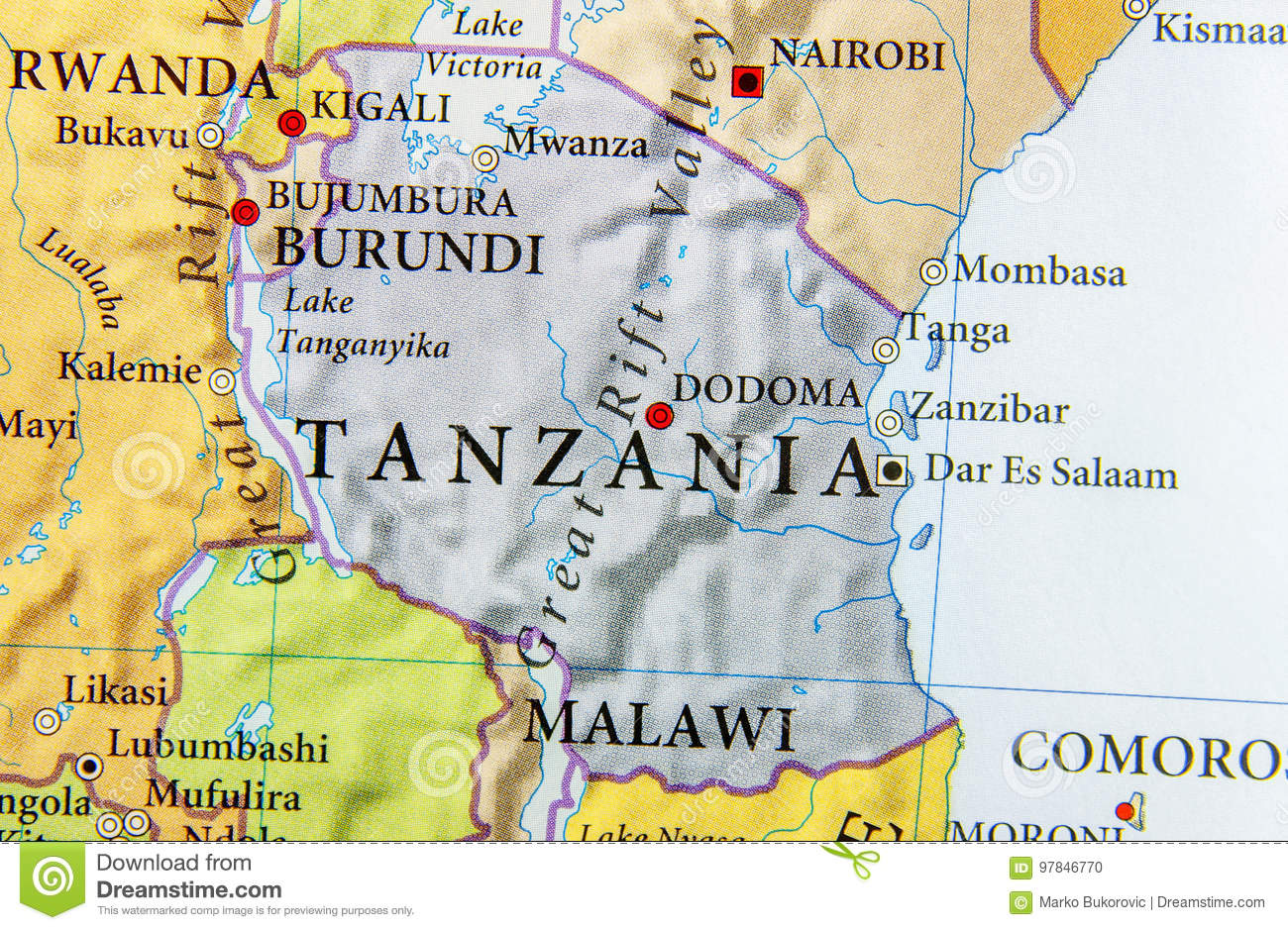 Geographic map of Tanzania country with important cities