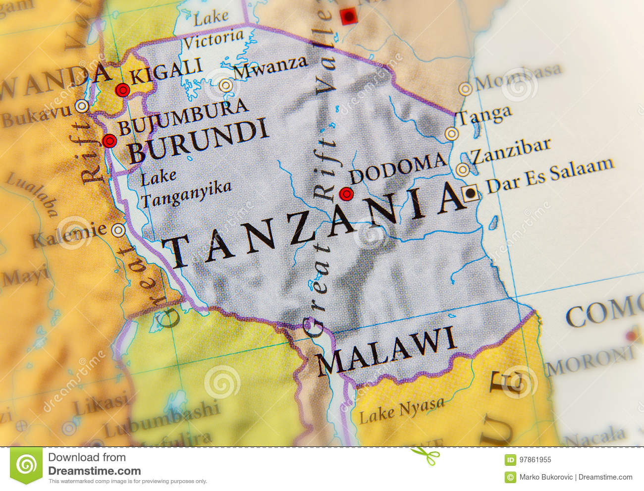 Geographic map of tanzania with important cities stock image image download geographic map of tanzania with important cities stock image image of mwanza pemba gumiabroncs Image collections