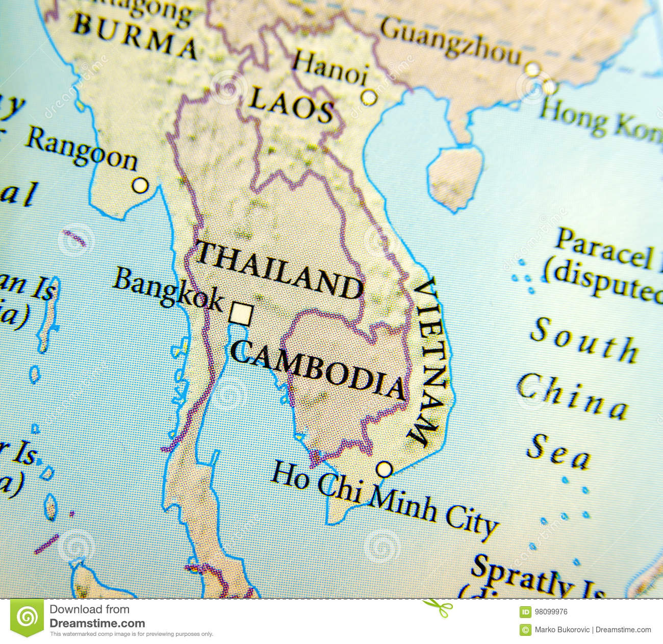 Geographic Map Of Thailand Burma Cambodia Vietnam And Laos