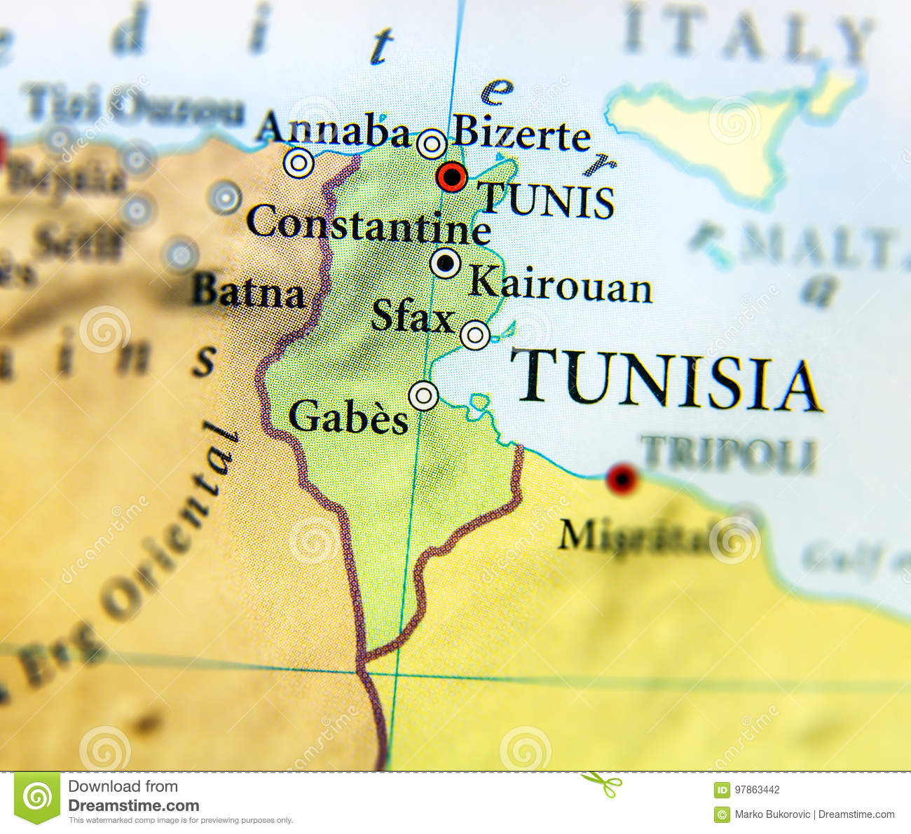 Geographic Map Of Tunisia Country With Important Cities Stock Photo ...