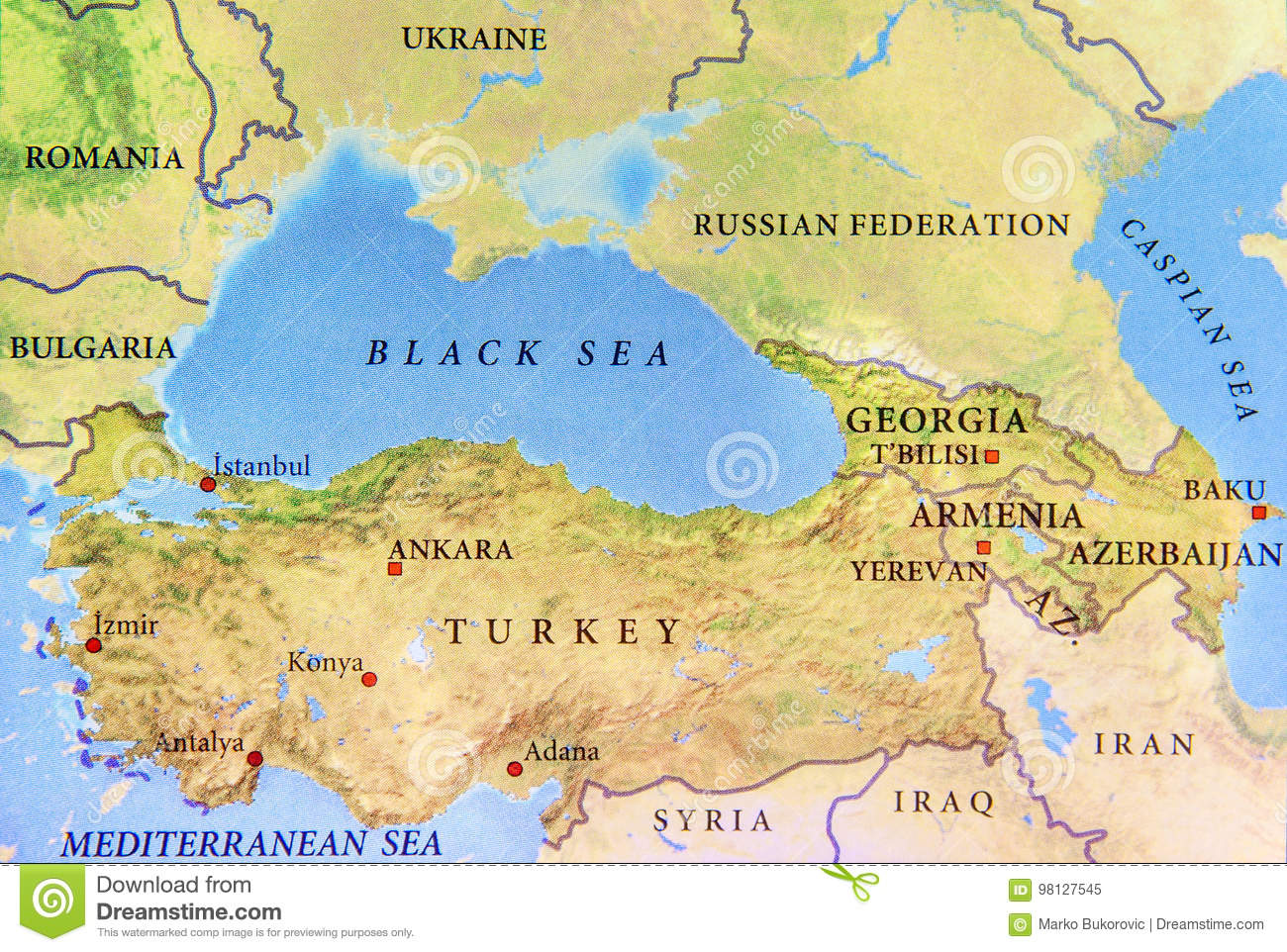 Geographic Map Of Turkey With Important Cities And Black Sea Stock on