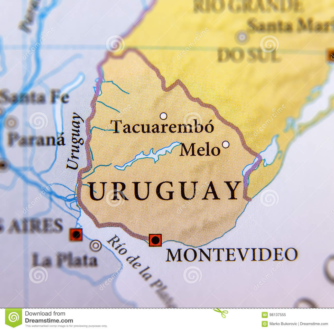 Geographic Map Of Uruguay Countries With Important Cities Stock ...