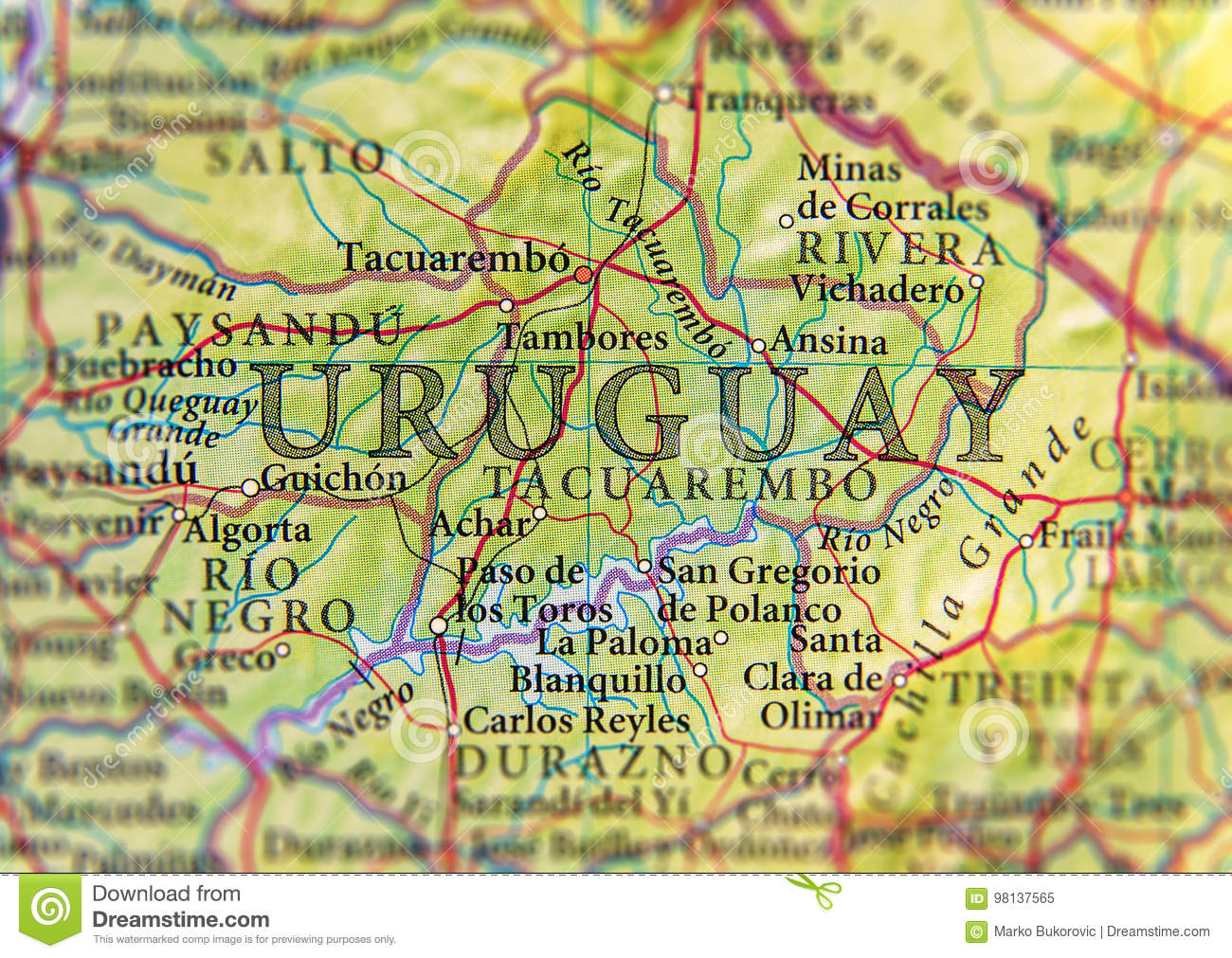 Geographic Map Of Uruguay Country With Important Cities Stock Image ...