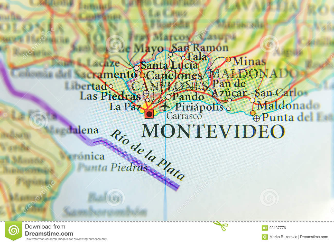 Image of: Geographic Map Of Uruguay With Montevideo Capital City Stock Photo Image Of Marker North 98137776