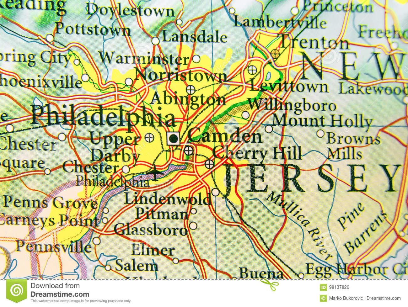 Geographic Map Of Us City Philadelphia And Other Important Cities - Philadelphia-on-the-us-map