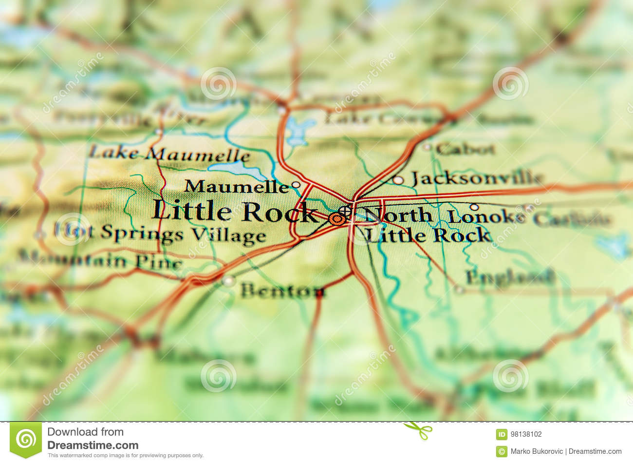 Geographic Map Of US State Arkansas And Little Rock City Close Stock ...