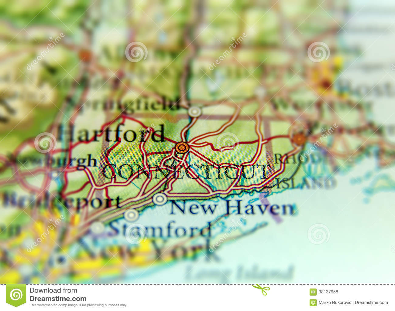 Geographic Map Of Us State Connecticut And Hartford City Stock Photo - Connecticut-in-us-map