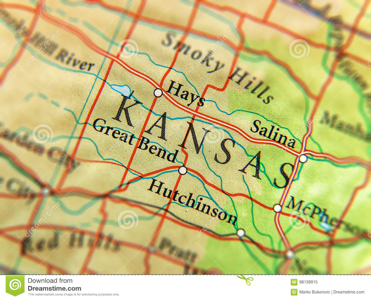 Geographic Map Of Us State Kansas With Important Cities Stock Image