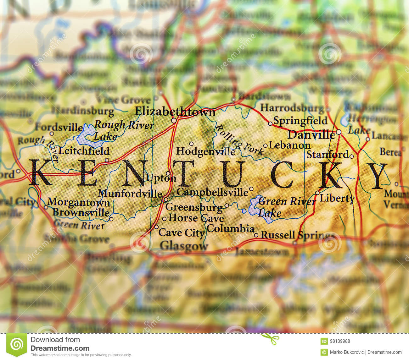 Geographic Map Of US State Kentucky With Important Cities Stock ...