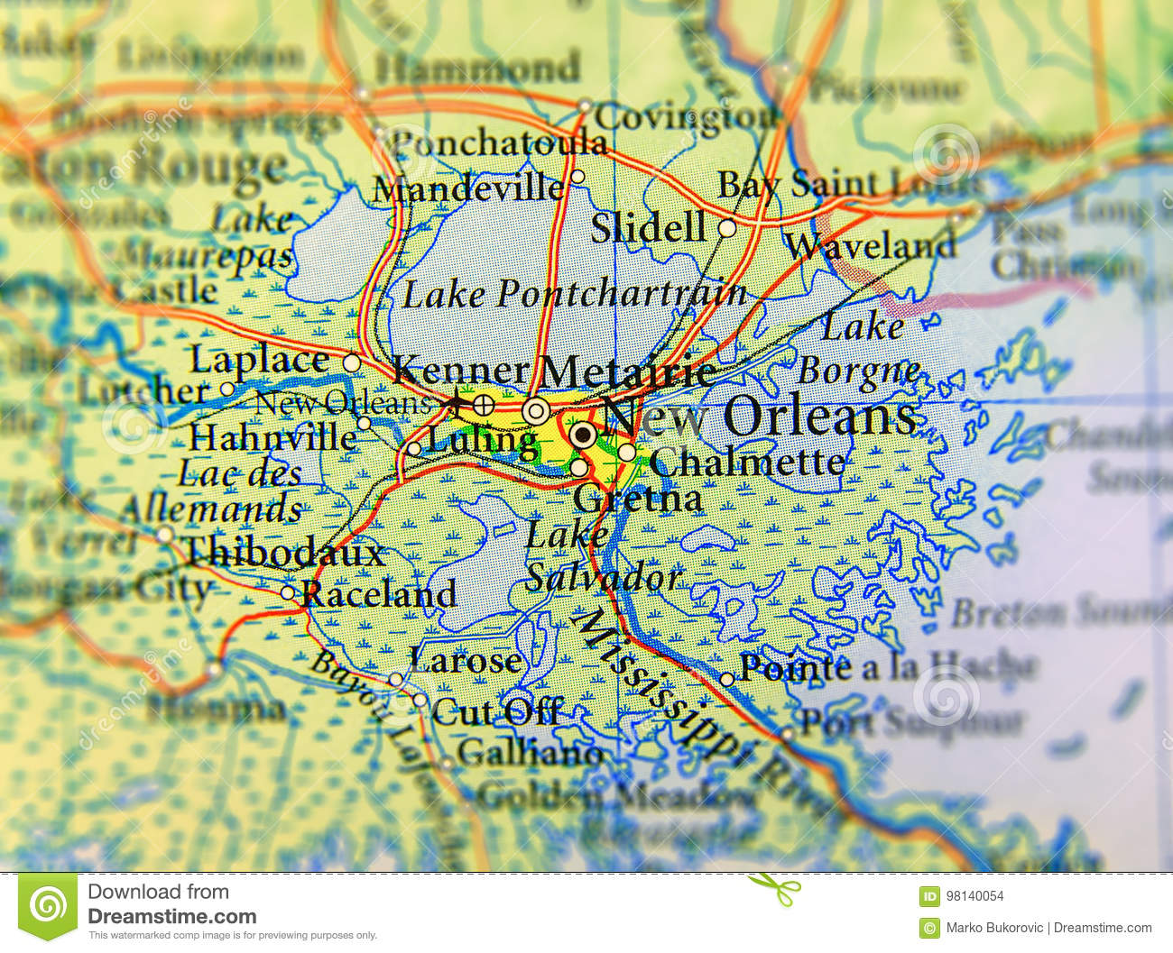 Geographic Map Of Louisiana.Geographic Map Of Us State Louisiana And New Orleans City Close