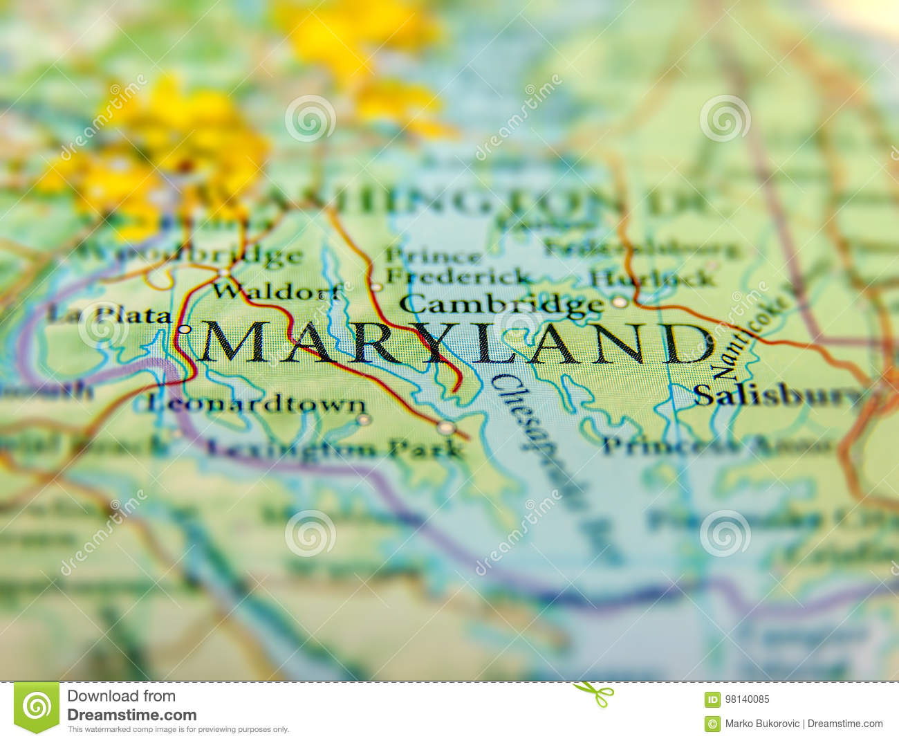 Geographic Map Of US State Maryland And Washington DC City ... on