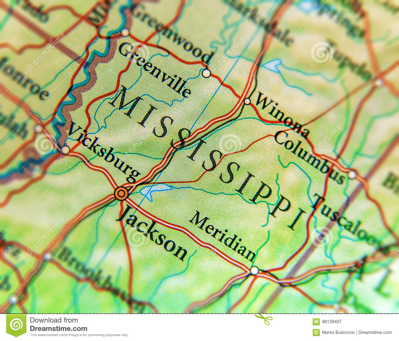Geographic Map Of US State Mississippi With Important Cities ...