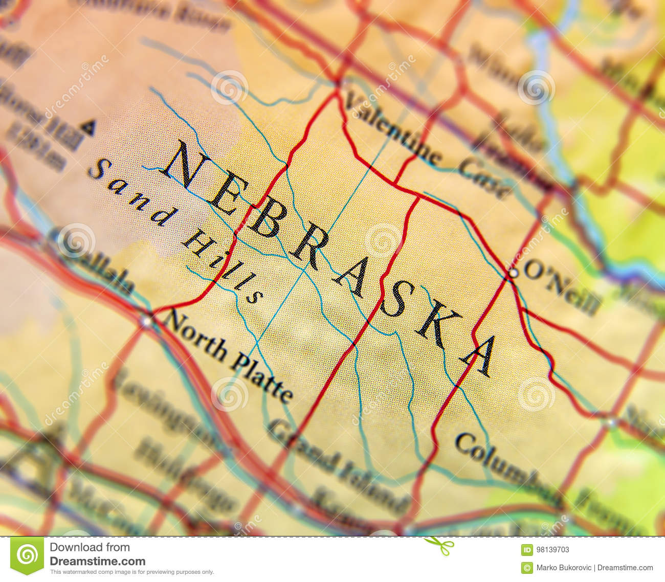Geographic Map Of Us State Nebraska With Important Cities Stock