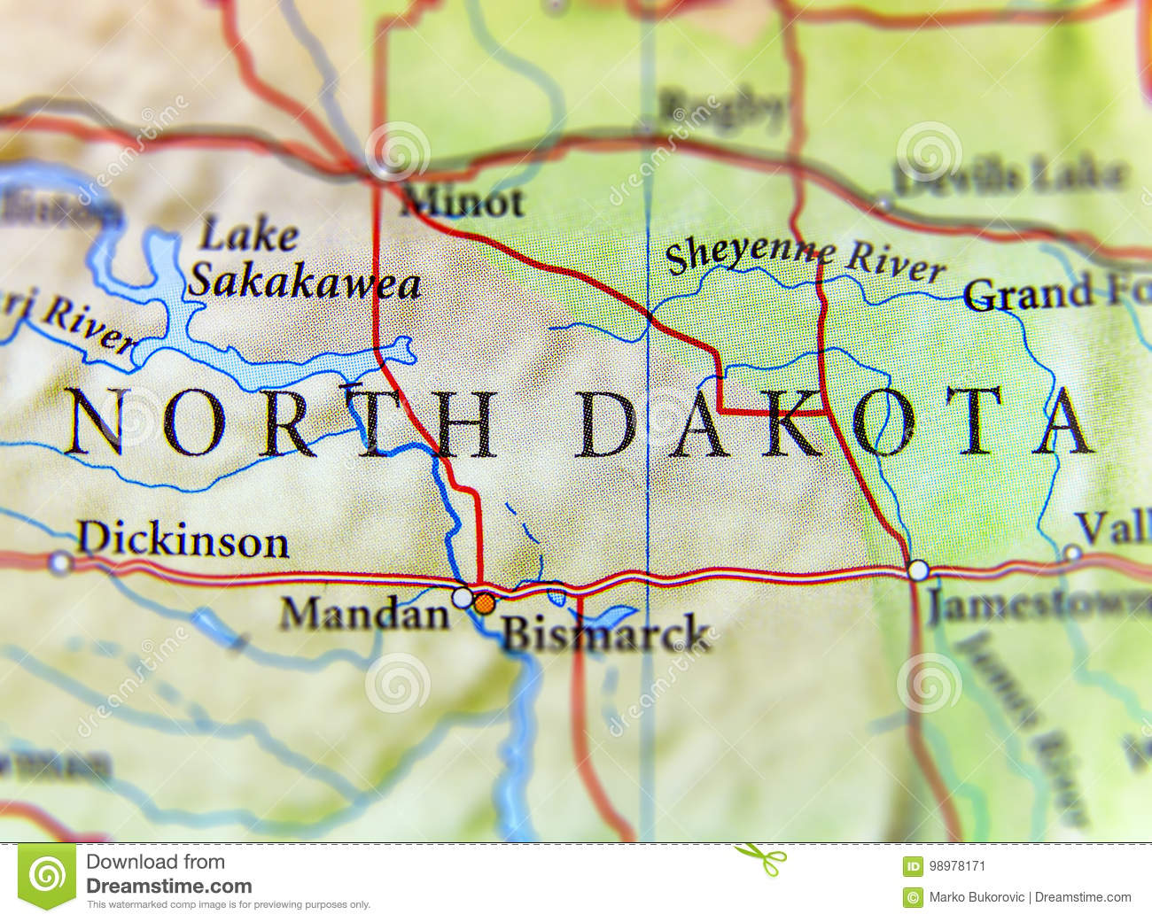 Geographic Map Of US State North Dakota With Important ...