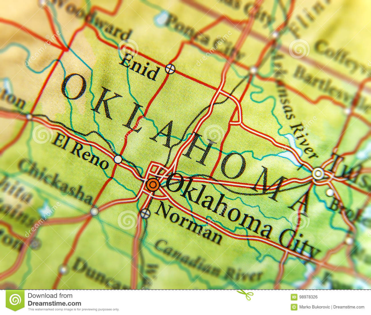 Geographic Map Of Us State Oklahoma With Important Cities Stock - Oklahoma-on-the-us-map