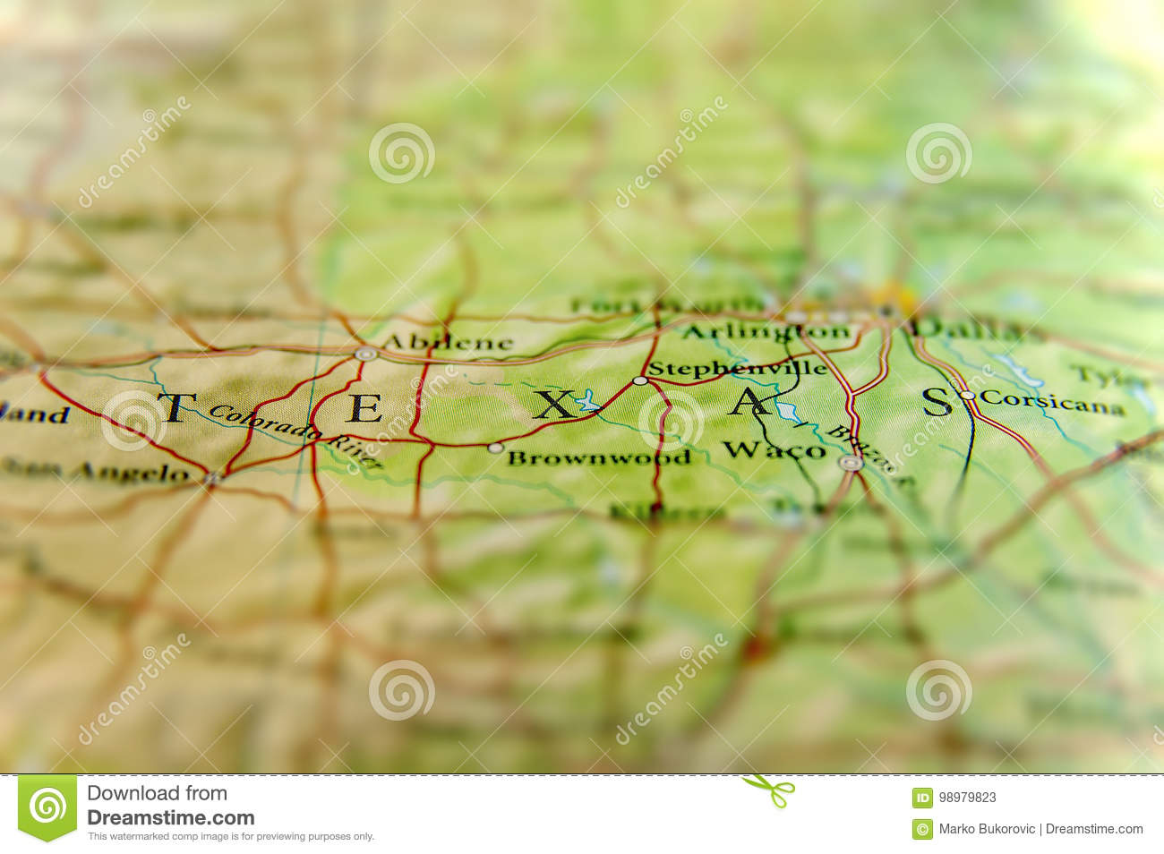 Geographic Map Of Us State Texas And Dallas City Stock Image Image