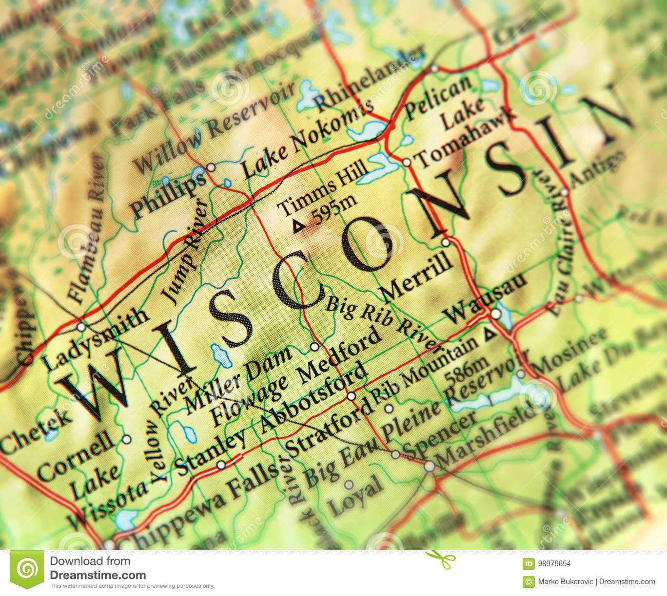 Geographic Map Of US State Wisconsin With Important Cities ...