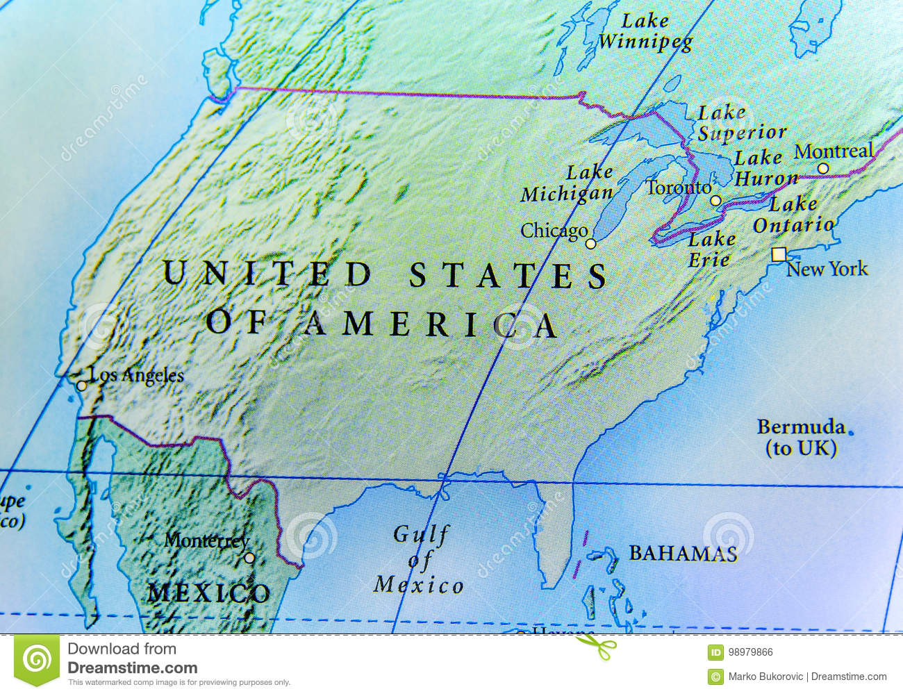 Geographic Map Of Usa Country With Important Cities Stock Photo