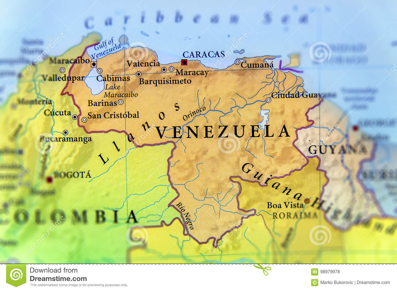 Geographic Map Of Venezuela Countries With Important Cities Stock ...
