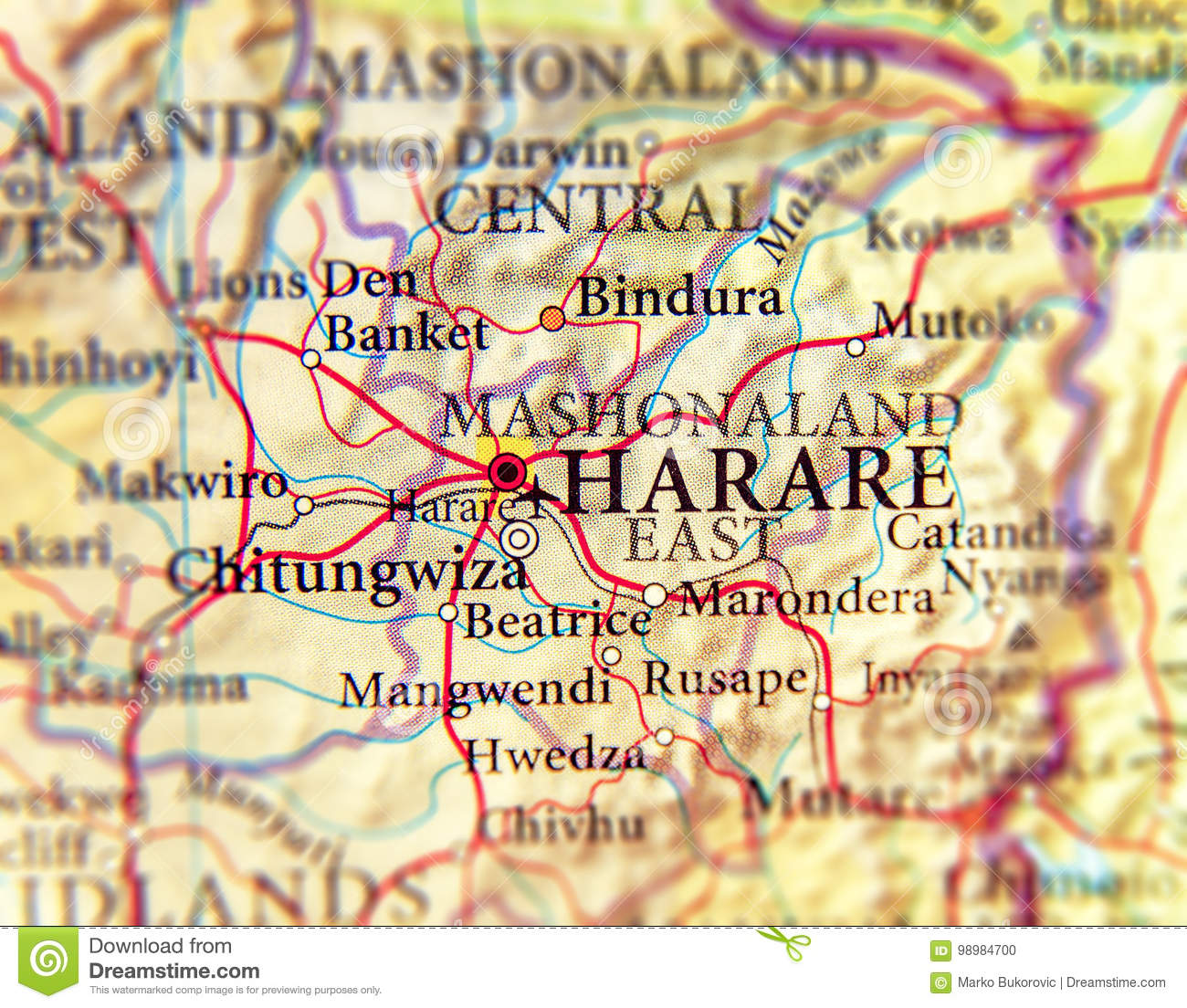 Geographic Map Of Zimbabwe And Capital City Harare Stock ...