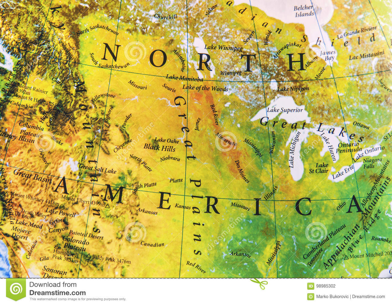 Geographic of North America map relief