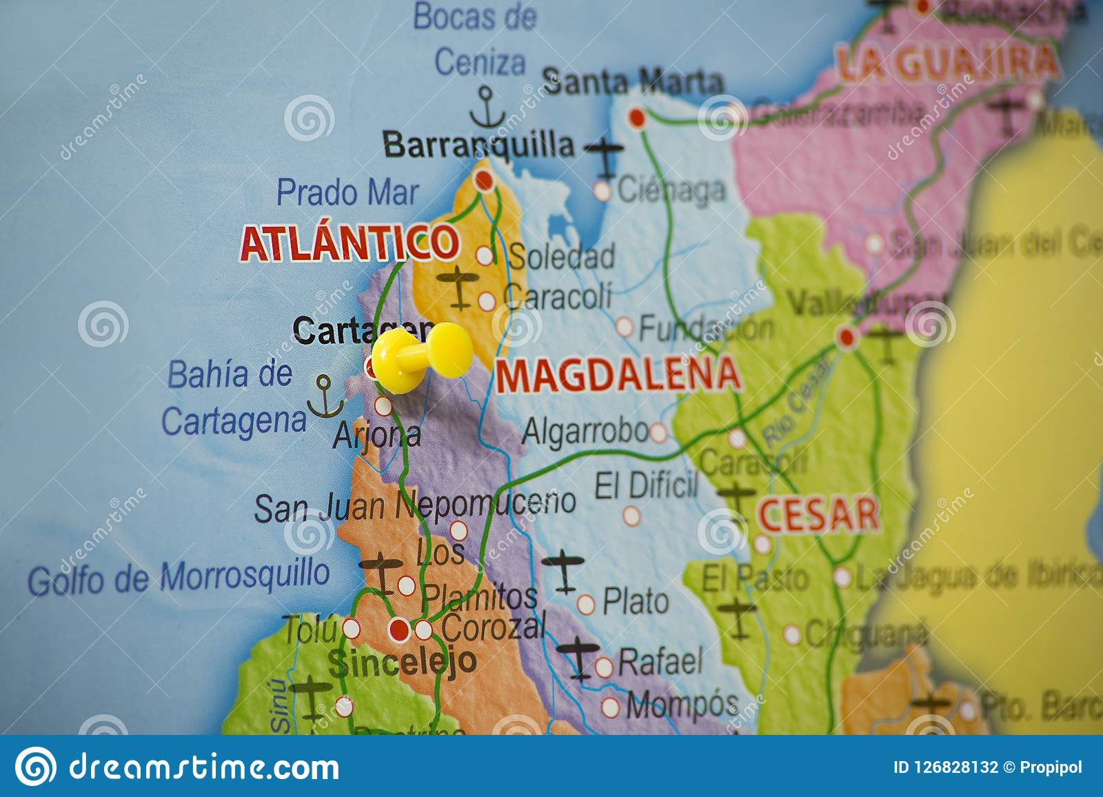 Cartagena Colombia Map Geographical Location Of Cartagena Colombia Stock Photo   Image of