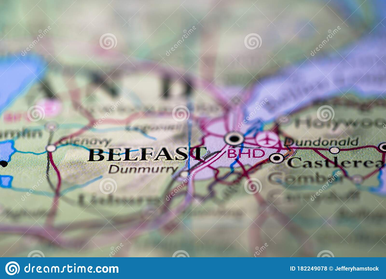 Picture of: Geographical Map Location Of Belfast City In Northern Island United Kingdom Europe Continent On Atlas Stock Photo Image Of Atlas Ireland 182249078
