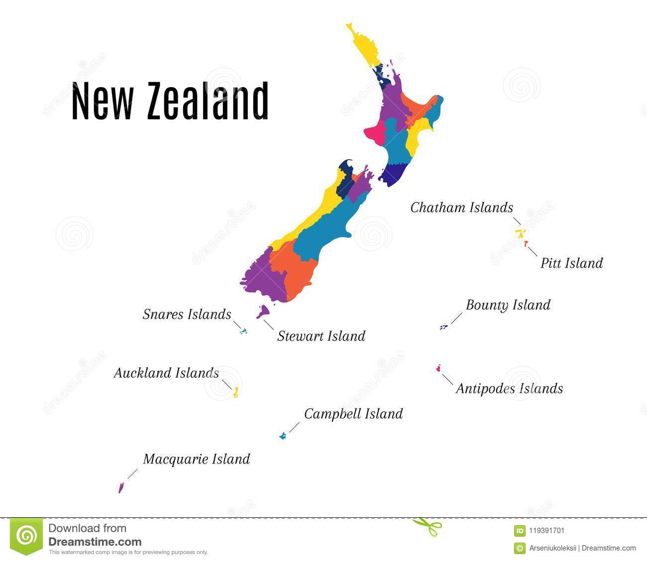 Geographical Map On The New Zealand And Its Islands Stock Vector