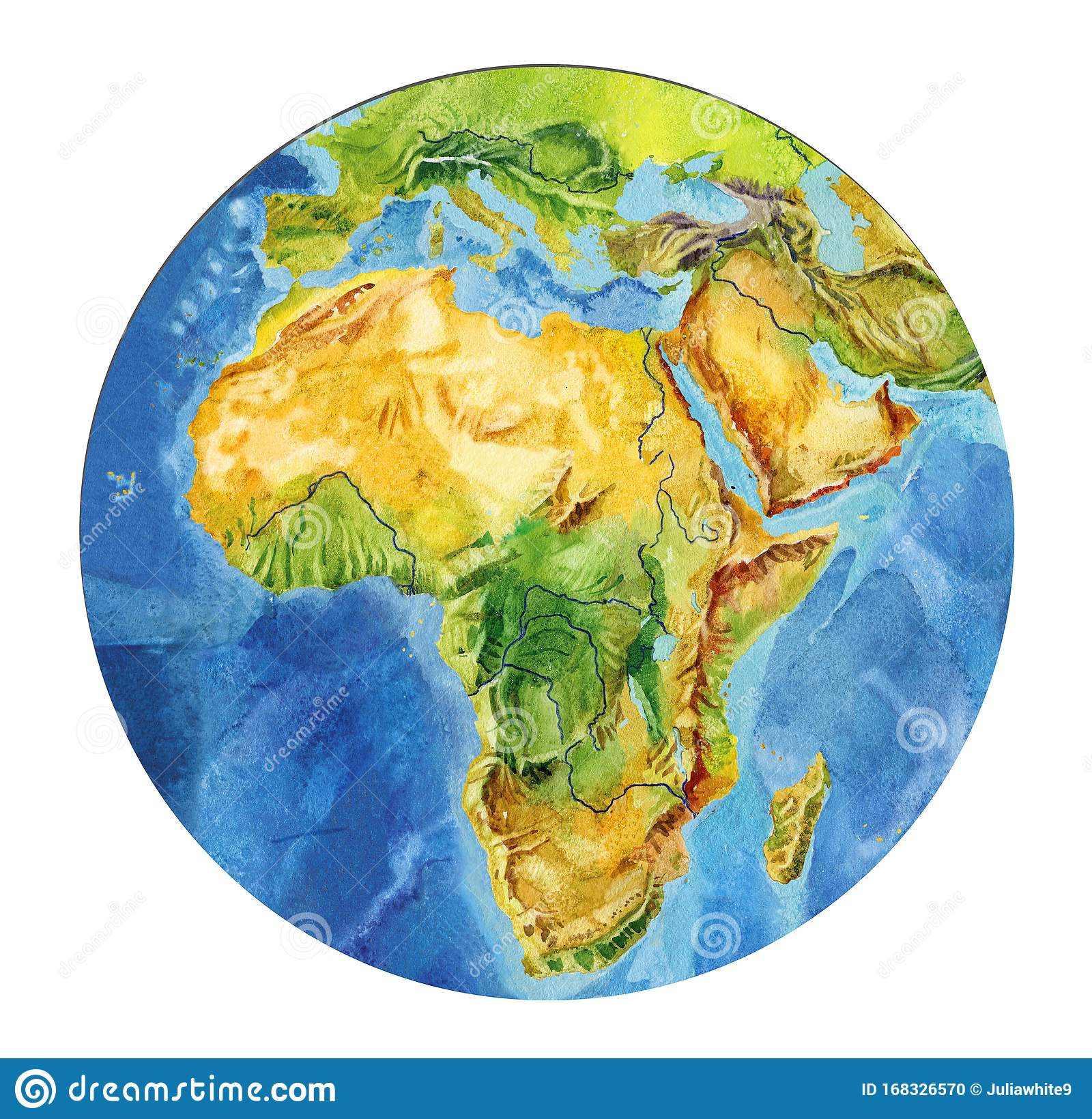 Image of: Geographical Map Of The World Fragment Of Africa Asia Europe Arabian Peninsula In The Round Shape Realistic Watercolor Stock Illustration Illustration Of Geography Geographical 168326570