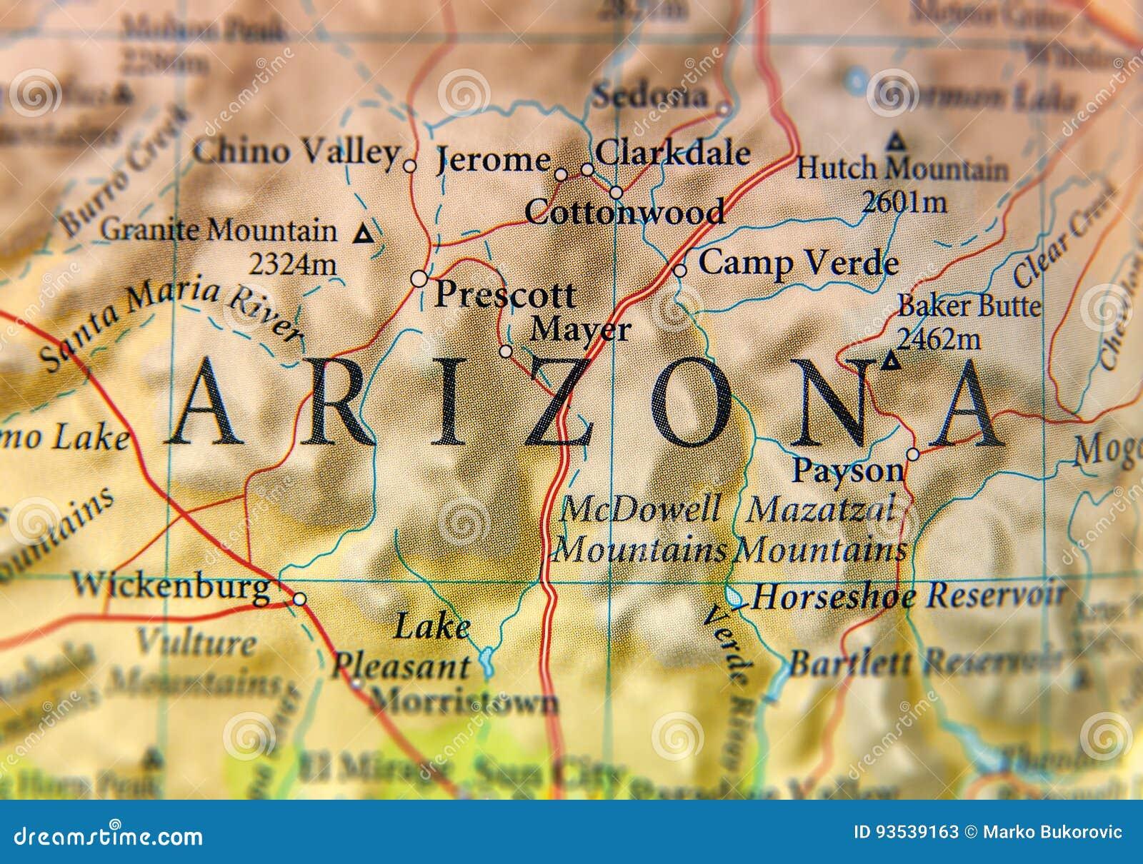 Tucson Arizona Karte.Geographische Karte Des Arizona Staatsabschlusses Stockbild