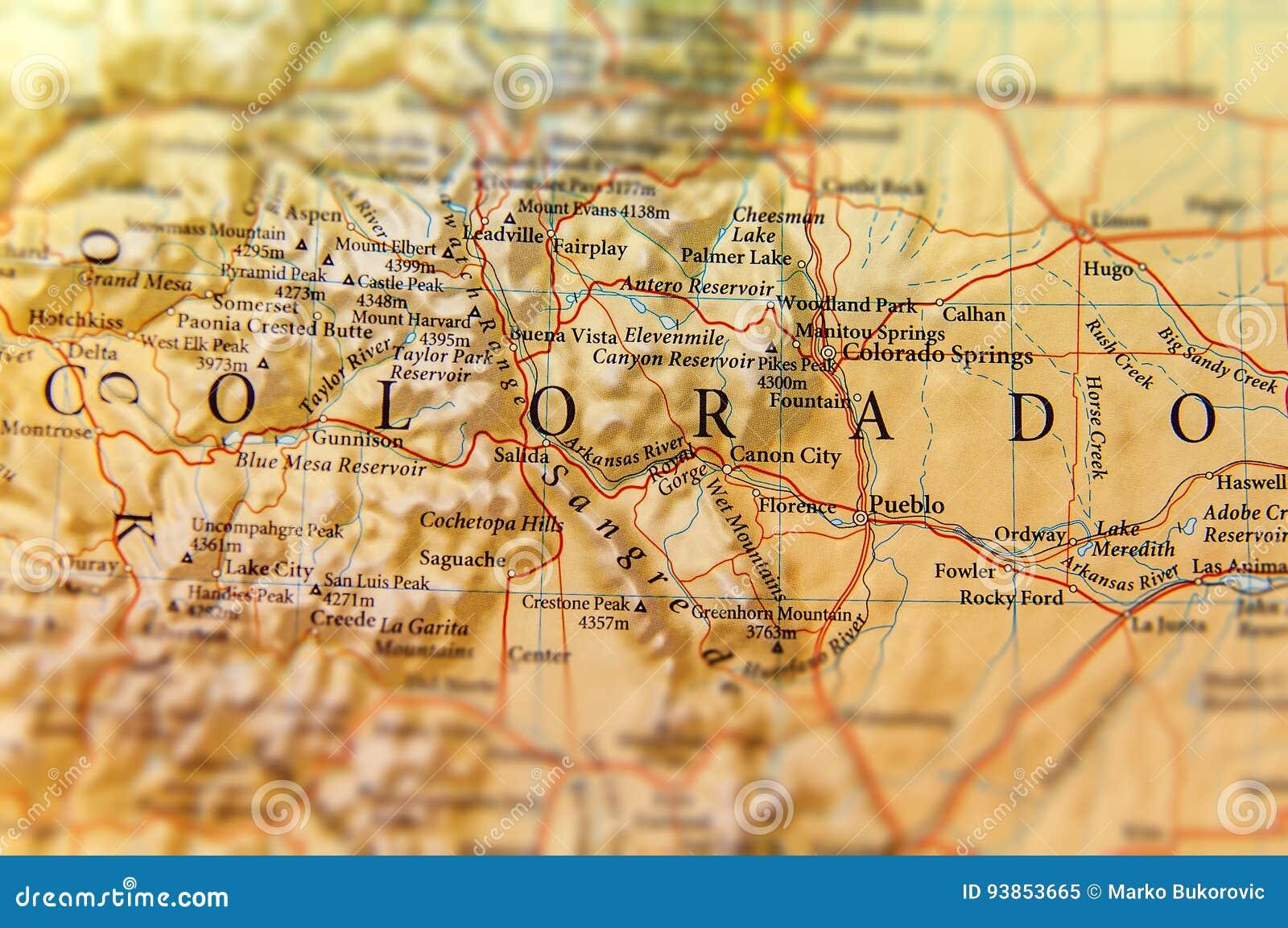 Colorado Karte Fluss.Geographische Karte Des Colorado Staatsabschlusses Stockbild