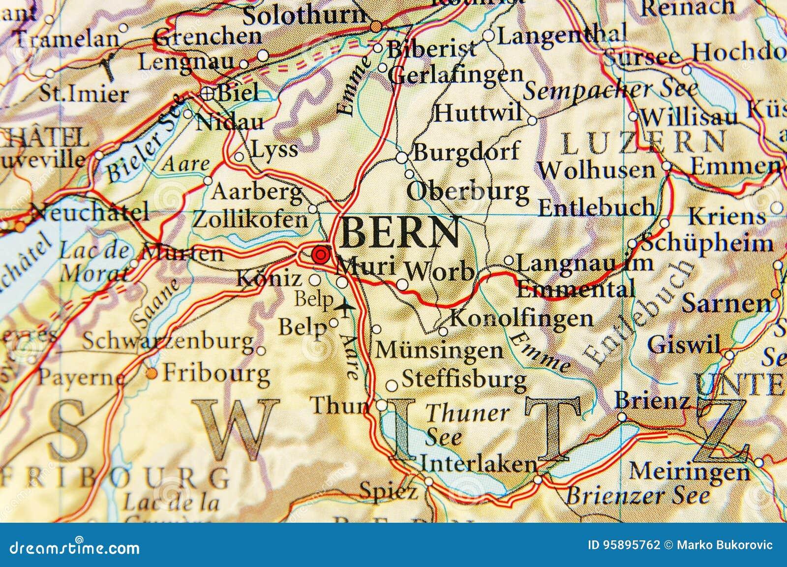 Geographische Karte Des Europaischen Landes Die Schweiz Mit