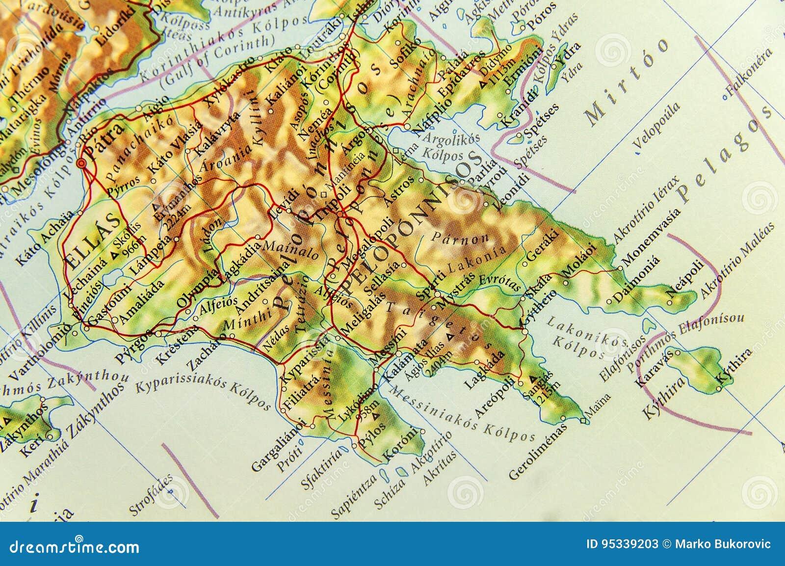 Griechenland Peloponnes Karte Deutsch.Geographische Karte Des Europäischen Landes Griechenland Mit