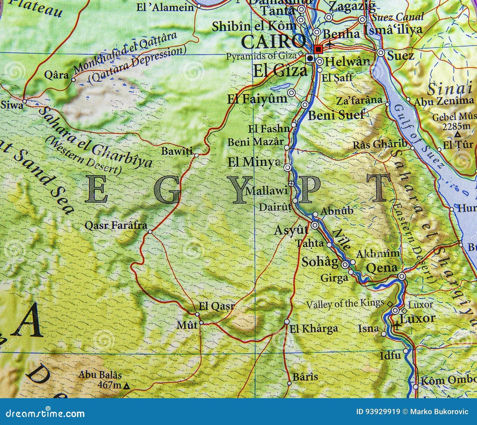 Karte Von ägypten.Geographische Karte Von ägypten Mit Wichtigen Städten Stockbild