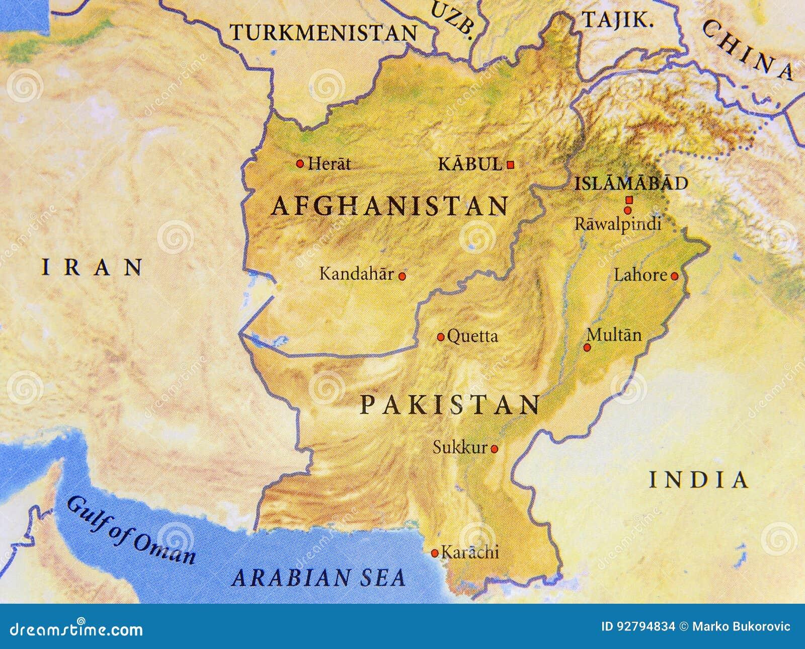 Karte Oman Kostenlos.Geographische Karte Von Afghanistan Und Von Pakistan Mit