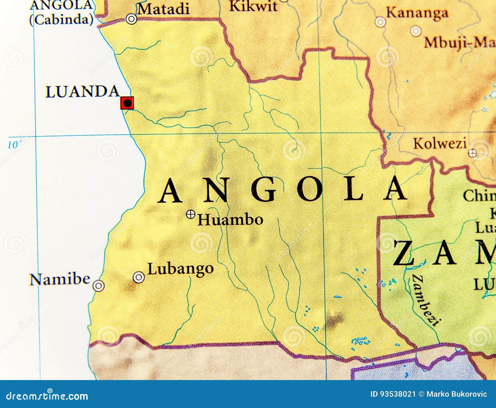 Geographische Karte Von Angola Mit Wichtigen Stadten Stockbild
