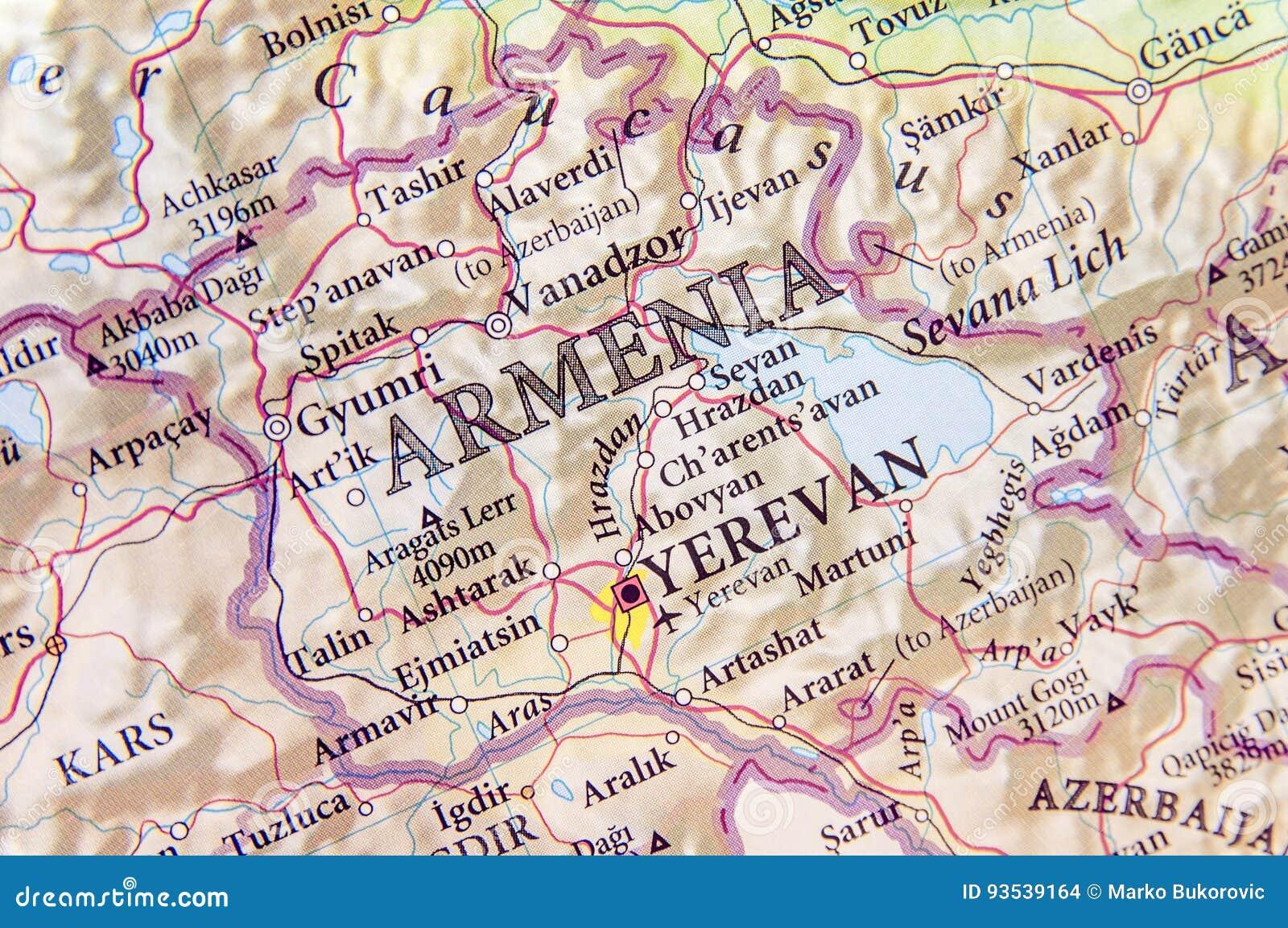Geographische Karte Von Armenien Mit Wichtigen Stadten Stockfoto Bild Von Geographische Wichtigen 93539164