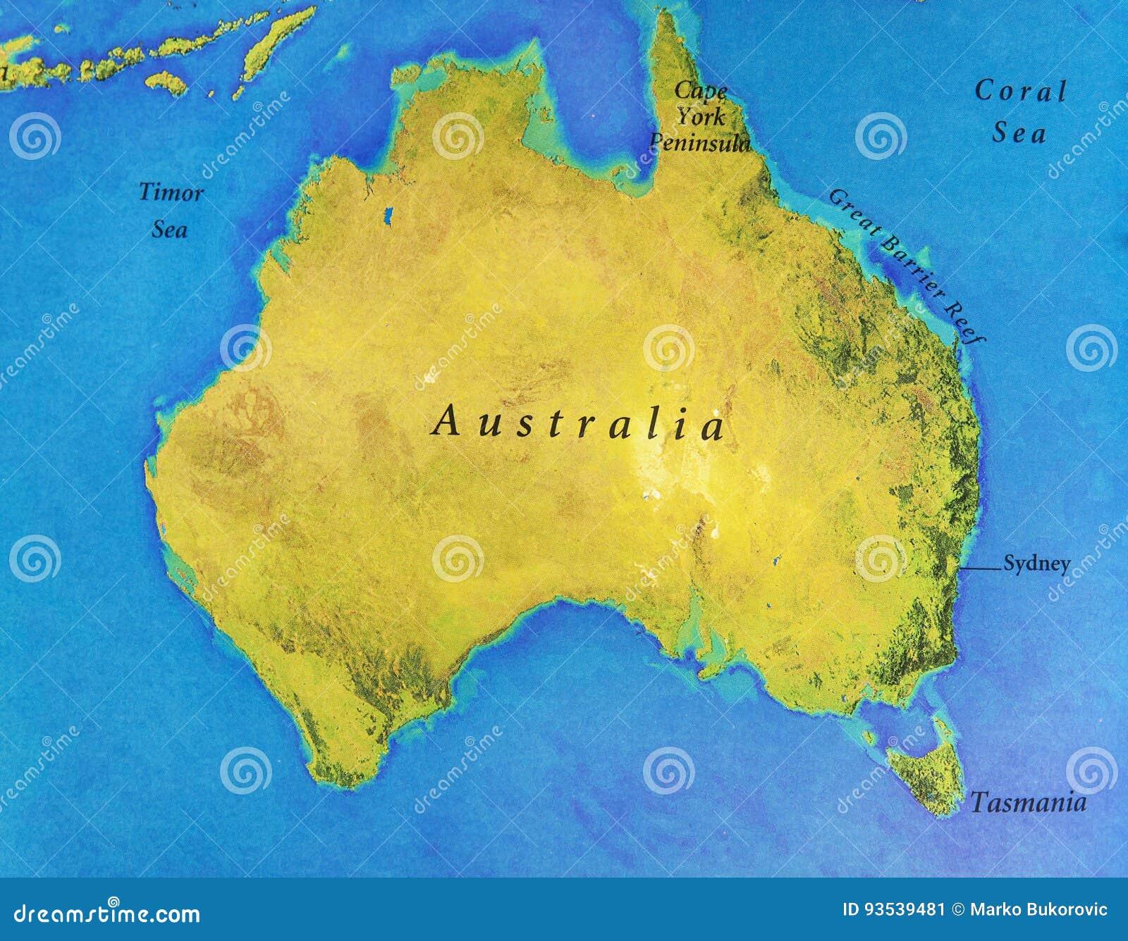 geographische karte von australien mit wichtigen st dten. Black Bedroom Furniture Sets. Home Design Ideas