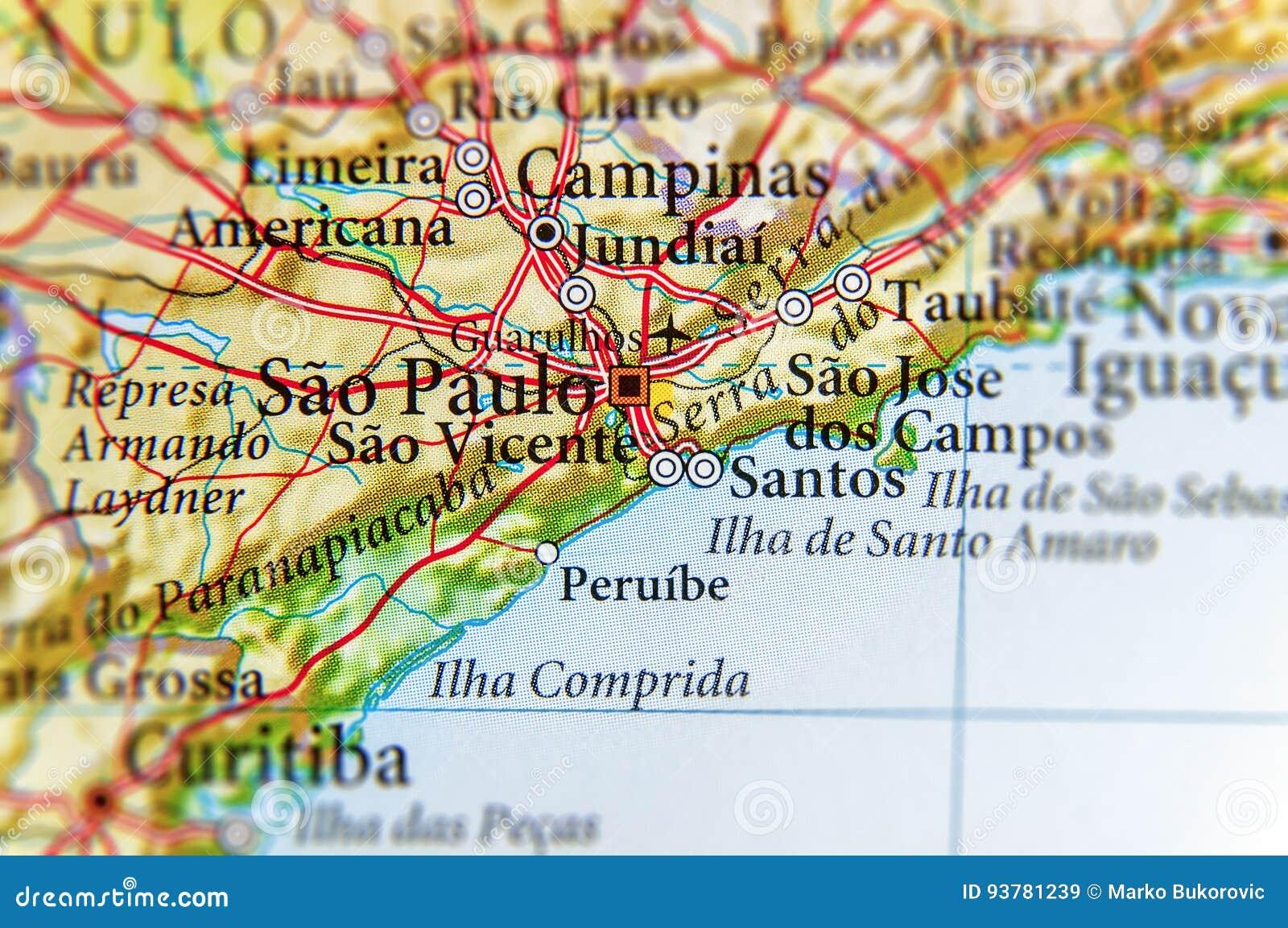 Geographische Karte Von Brasilien Mit Sao Paulo Stadt Stockbild